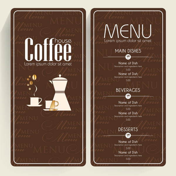 Brown Background Coffee Menu Free Vector In Adobe