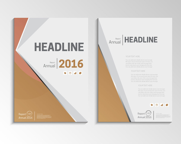 brown vector annual report brochure template design