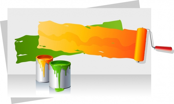 painting work background brush can colorful 3d realistic
