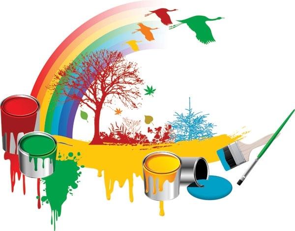 bucket tree geese vector rainbow