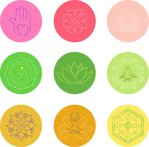Buddhism Symbol Set Free Vector In Adobe Illustrator Ai
