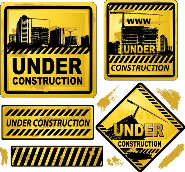 under construction sign templates classical black yellow design