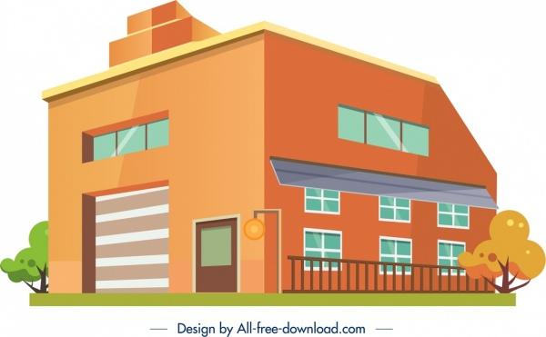 building architecture icon colored 3d design