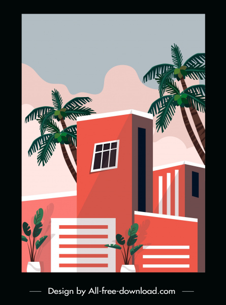 building architecture template colored classic sketch