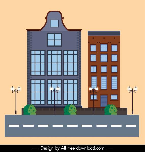 building exterior architecture template modern decor flat sketch