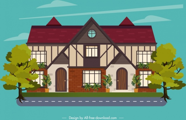 building icon colored sketch tile roof decor