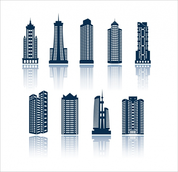 skyscraper building icons modern design