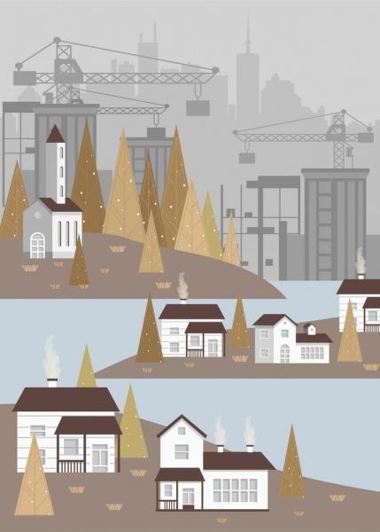 buildings construction background colored cartoon design