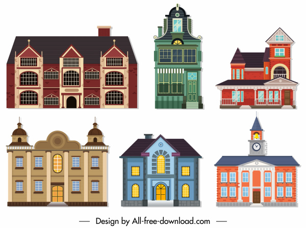 buildings icons classic european architecture sketch