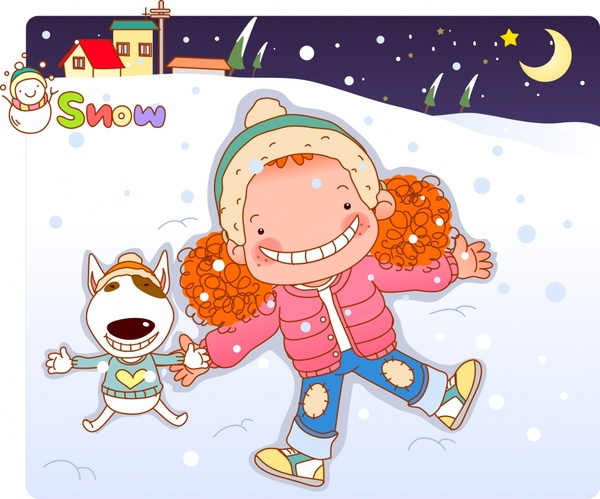 childhood background winter theme joyful girl cartoon design