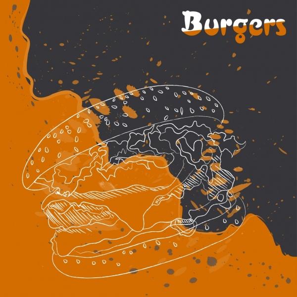 burger advertisement orange grunge decor food sketch