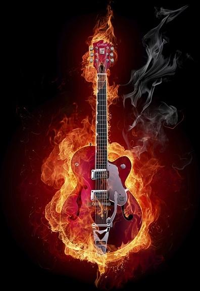 burning guitar picture