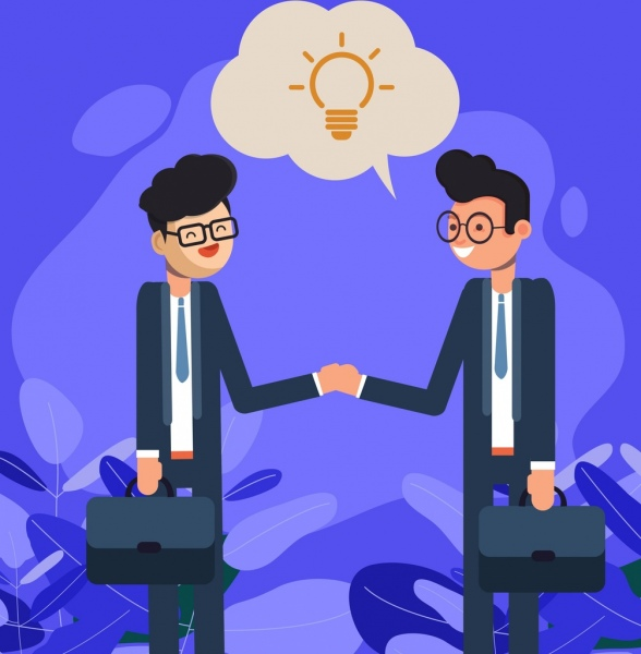 business background men shaking hands icon cartoon characters