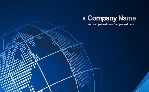 business presentation template globe blue background