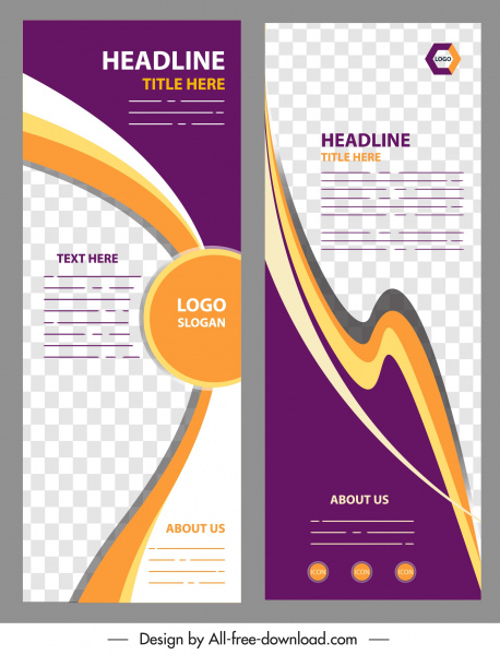 business banner template colorful checkered curves decor