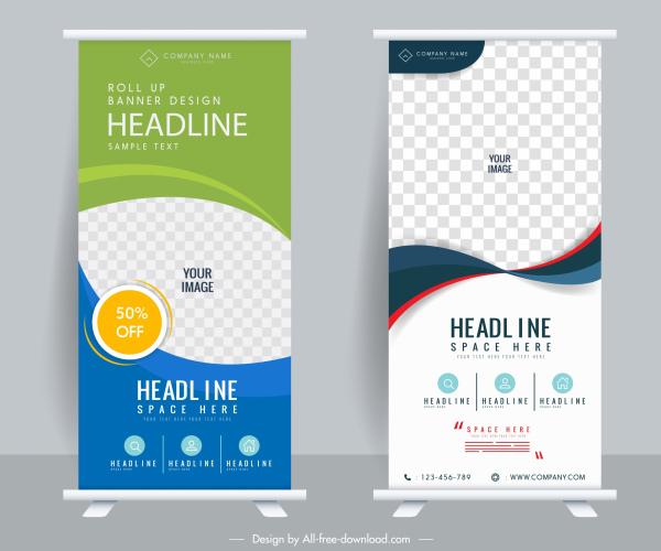 business banner templates elegant modern decor vertical design