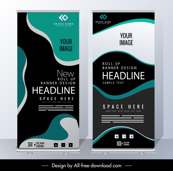 business banner templates modern abstract curves decor
