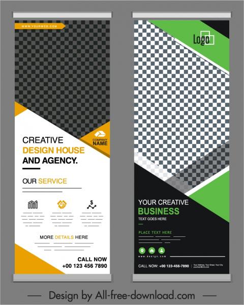 business banner templates modern elegant checkered standee design