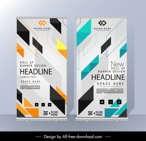 business banners templates modern colorful geometric decor