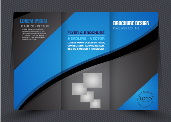 business brochure design with modern trifold style free vector in