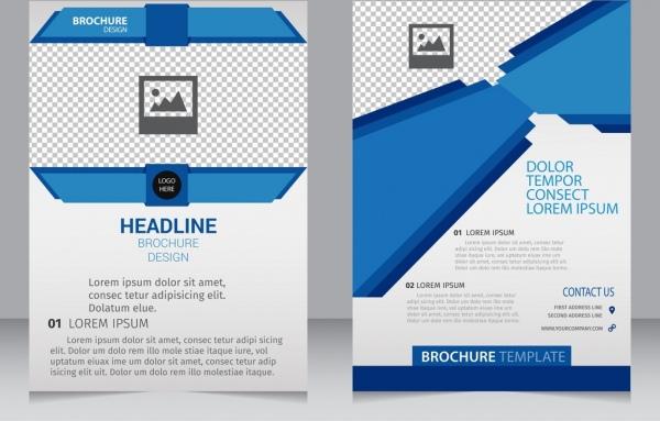 business brochure template 3d modern blue checkered ornament