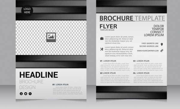 Business Brochure Template Black White Checkered Decoration Free - Black and white flyer template free