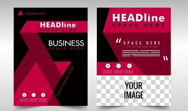 business brochure template modern dark red design