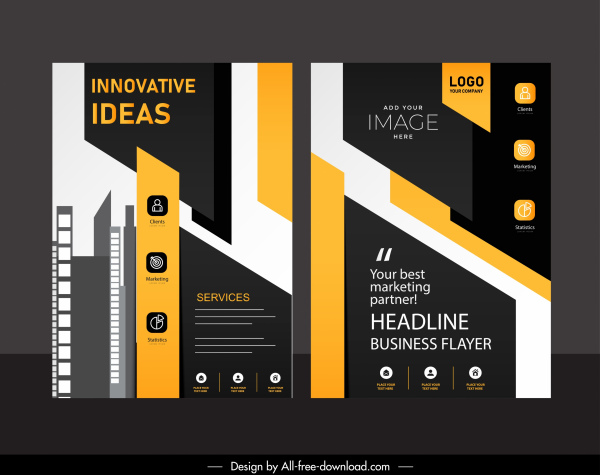 business brochure template modern elegant dark design