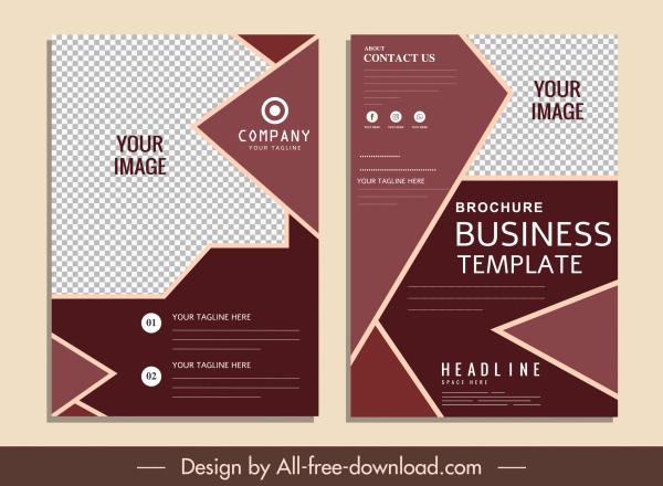 business brochure templates elegant dark checkered geometric shapes