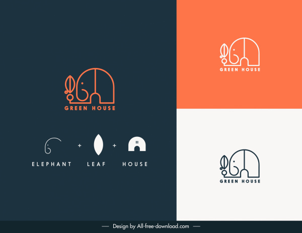 business card decor elements flat handdrawn elephant sketch