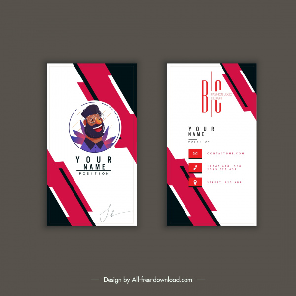 business card template abstract technology portrait decor