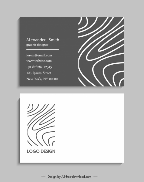 business card template black white curves draft
