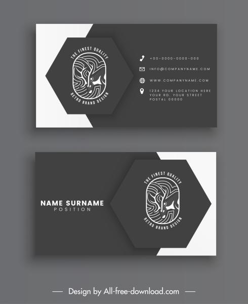 business card template black white decor reindeer logo