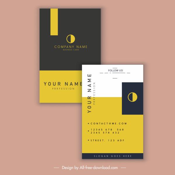 business card template black yellow modern flat design