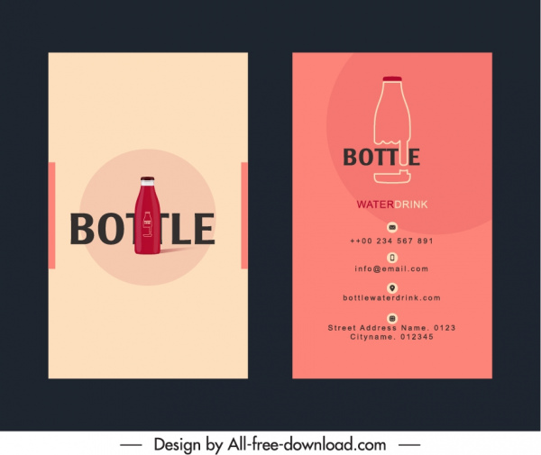 business card template bottle sketch flat classic design