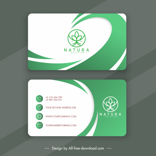 business card template bright green white curves decor