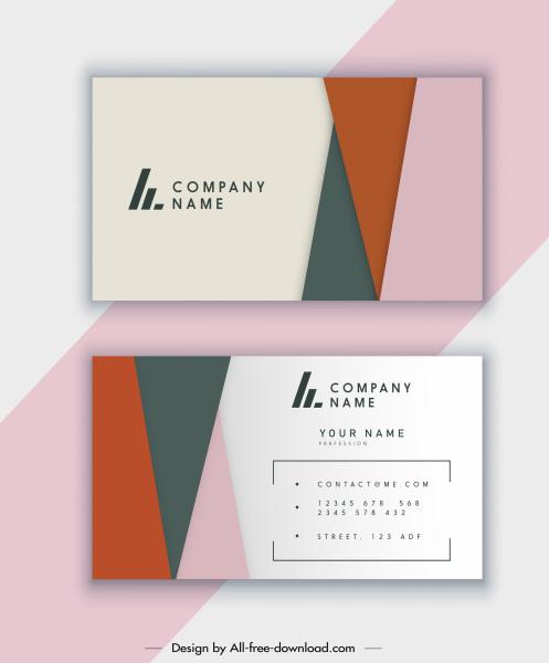 business card template classic flat colorful geometric decor