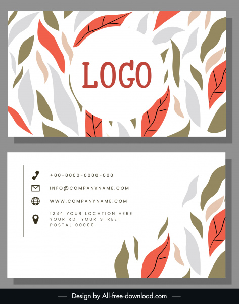 Business Card Template Classical Leaves Sketch Free Vector