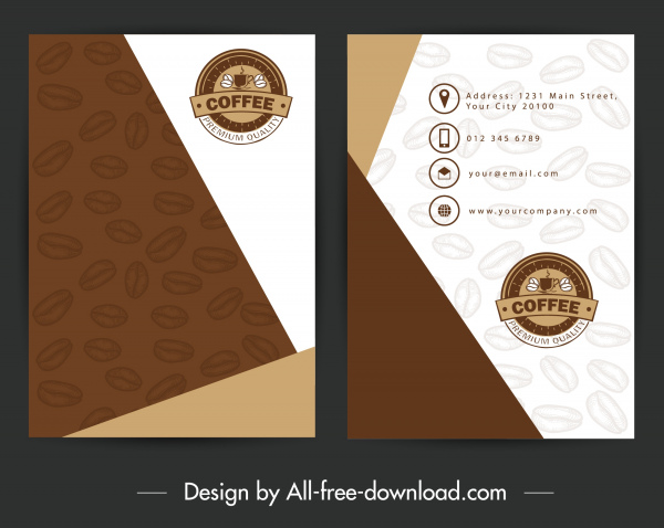 business card template coffee beans decor