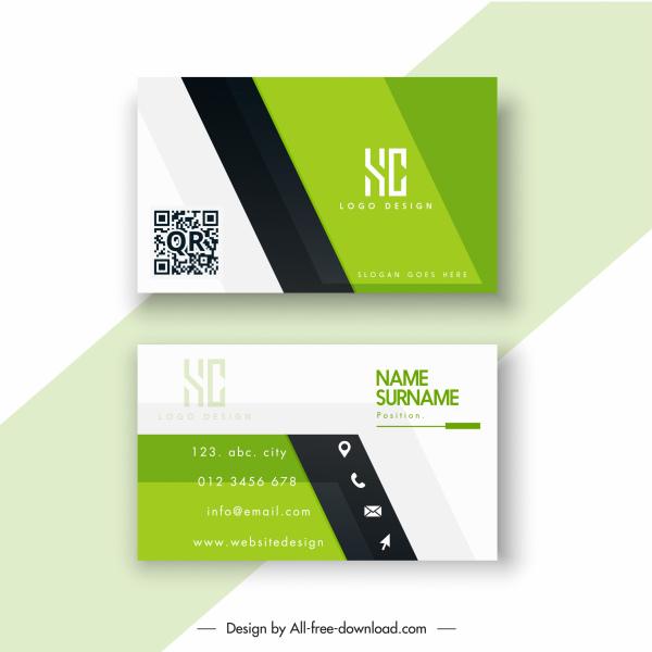 business card template colored elegant flat design