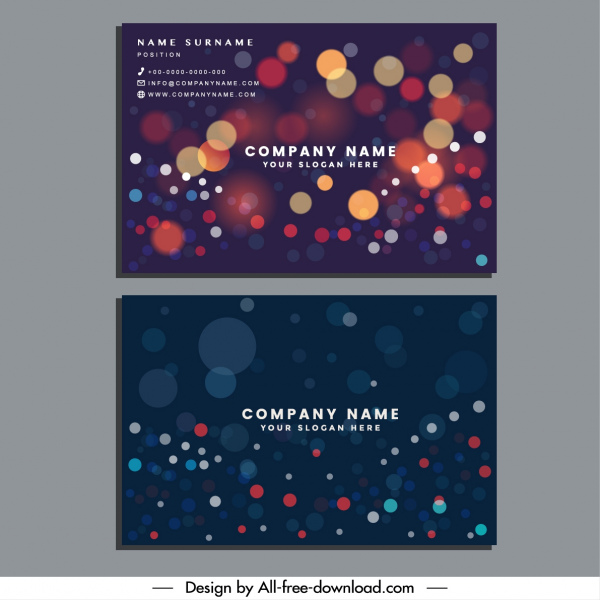 business card template colorful bokeh lights decor