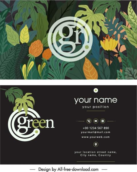 business card template dark classical nature decor
