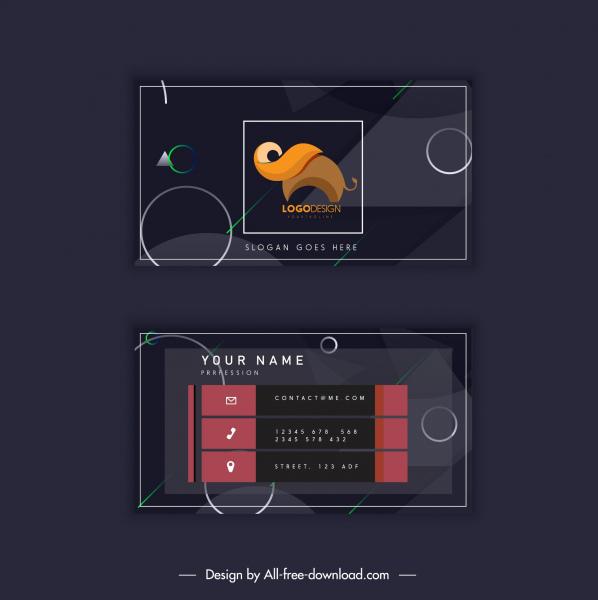 business card template dark decor elephant logotype