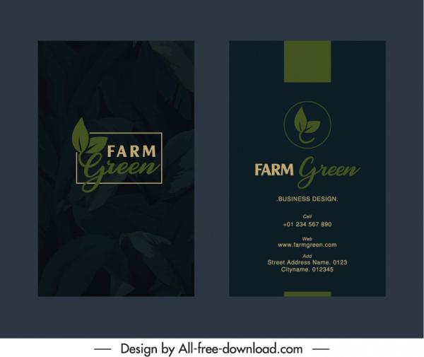 business card template dark design elegant leaves sketch