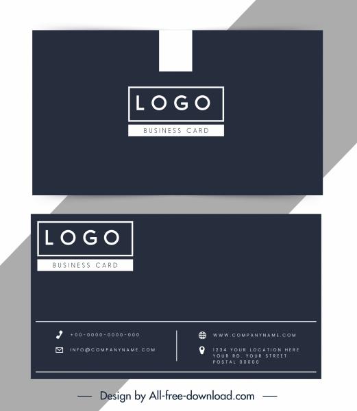 business card template dark elegant black white plain