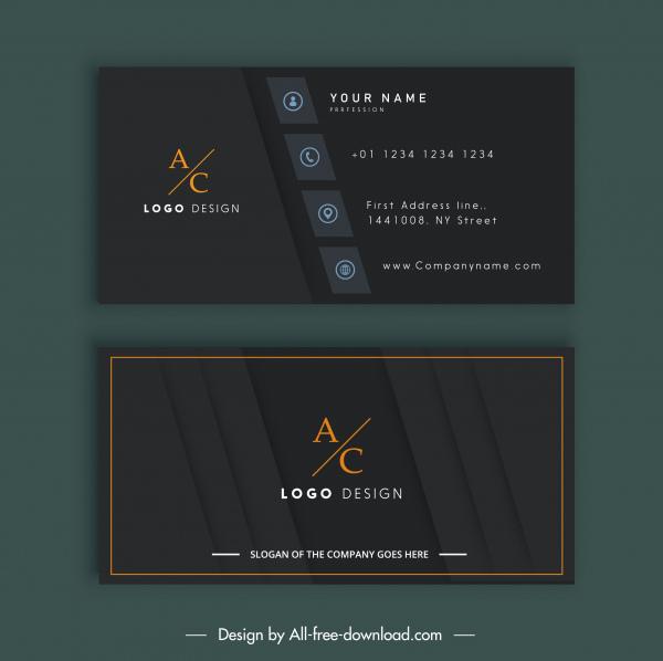 business card template elegant black flat decor