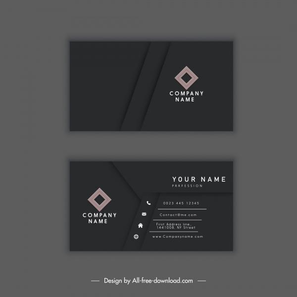 business card template elegant dark black decor