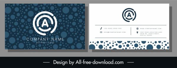 business card template elegant dark blue circles decor