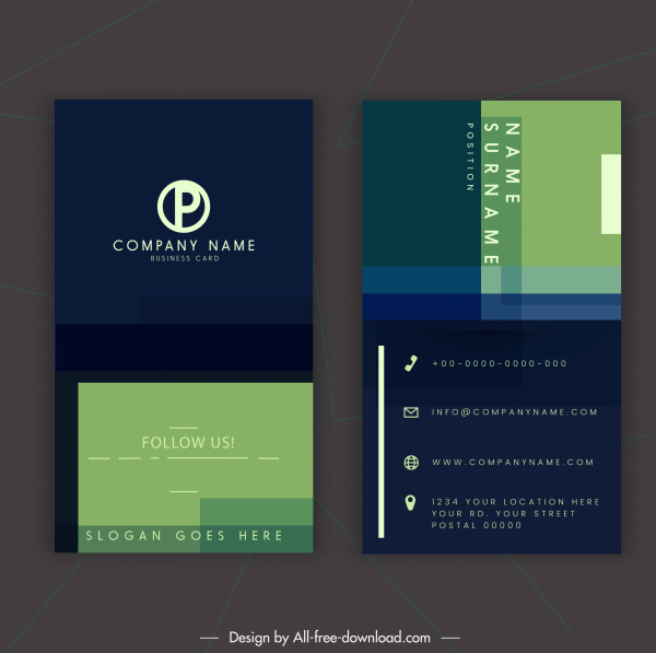 business card template elegant dark vertical decor