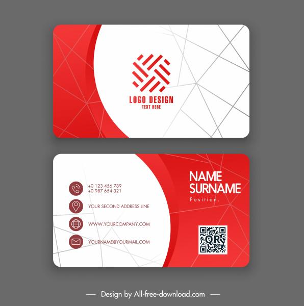 business card template elegant modern red white geometric